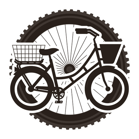 Antique bicycle with basket with wheel background vector illustration design