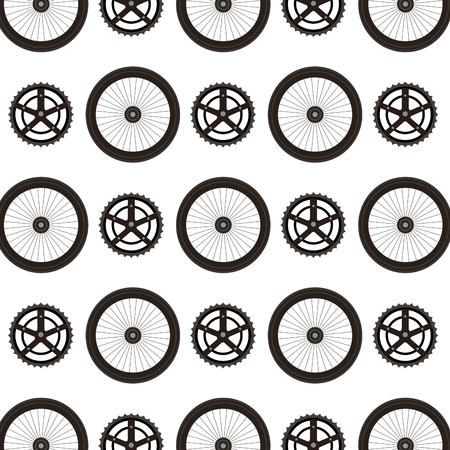 Bike wheels and sprocket pattern background vector illustration design Illusztráció