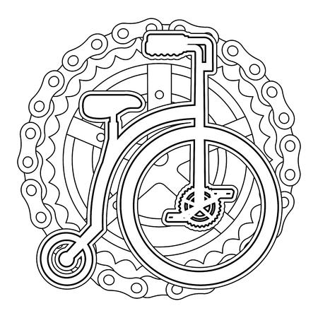 La retro bicicletta con l'illustrazione di vettore della catena e del pignone progetta Archivio Fotografico - 91856040