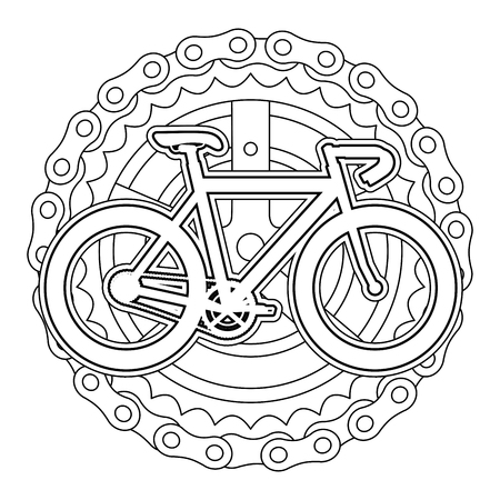 A racing bicycle with chain and sprocket vector illustration design Vettoriali