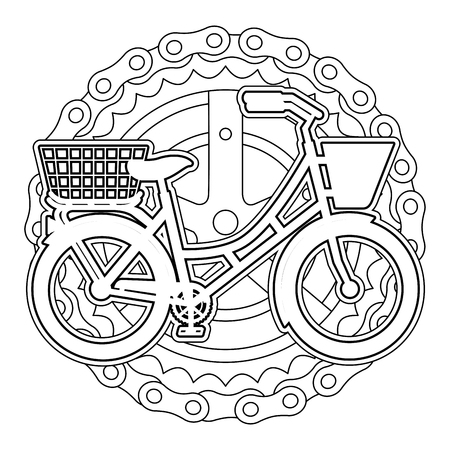 AN antique bicycle with basket chain and sprocket vector illustration design