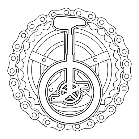 A monocycle race with chain and sprocket vector illustration design Çizim