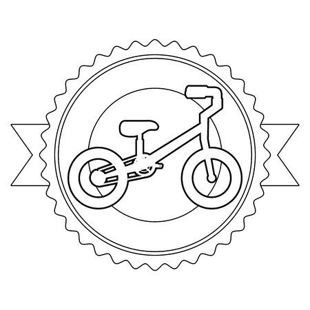 A mountain bicycle with emblem ribbon vector illustration design Illustration