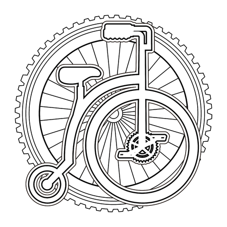 A retro bicycle with wheel vector illustration design Illusztráció