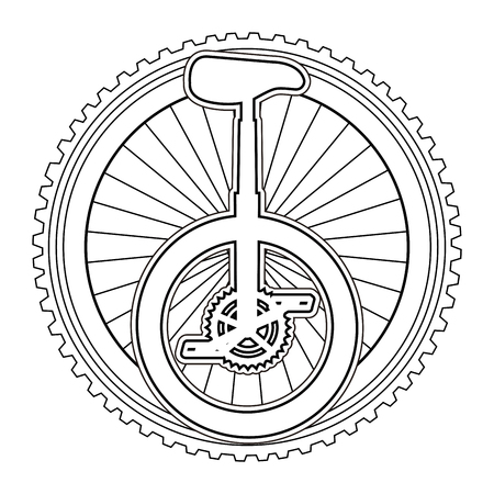 monocycle race with wheel vector illustration design Illustration