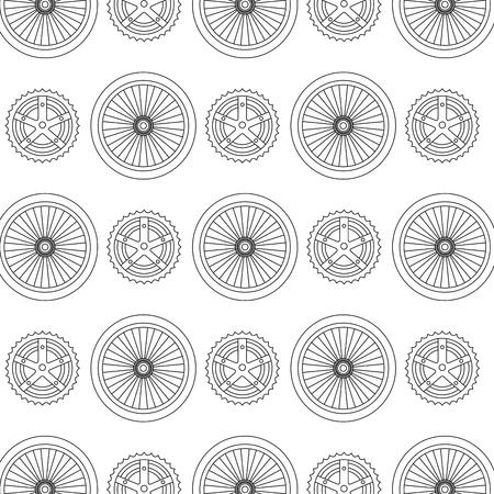bike wheels and sprocket pattern background vector illustration design Illustration