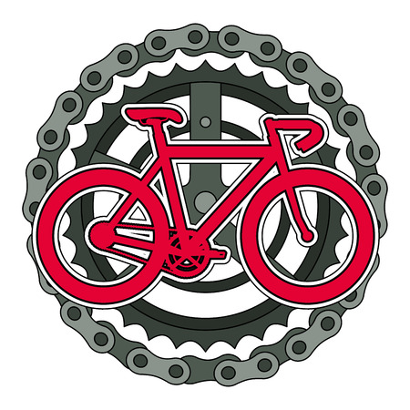 racing bicycle with chain and sprocket vector illustration design Illustration