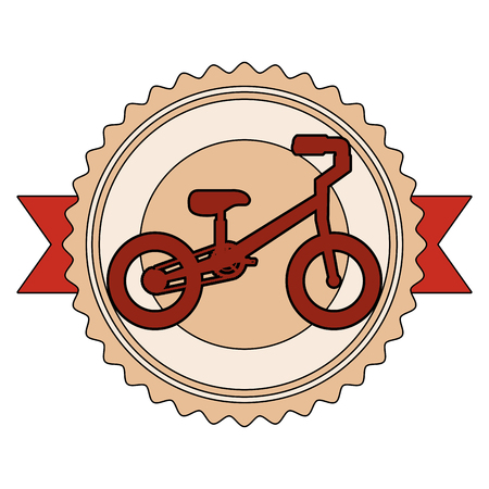 mountain bicycle with emblem ribbon vector illustration design