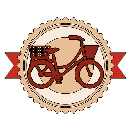 antique bicycle with basket emblem vector illustration design Illustration