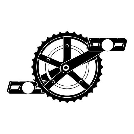 bicycle sprocket with pedal vector illustration design Illustration