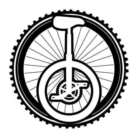 Monocycle race with wheel illustration design.