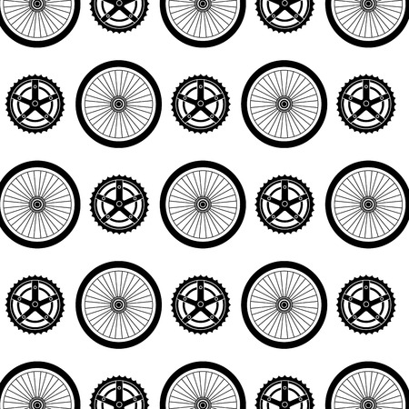 Bike wheels and sprocket pattern. Illusztráció