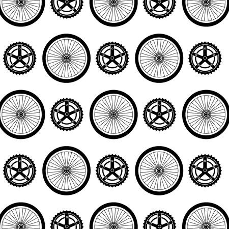 Bike wheels and sprocket pattern. Illustration
