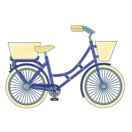 バスケットベクトルイラストデザインのアンティーク自転車