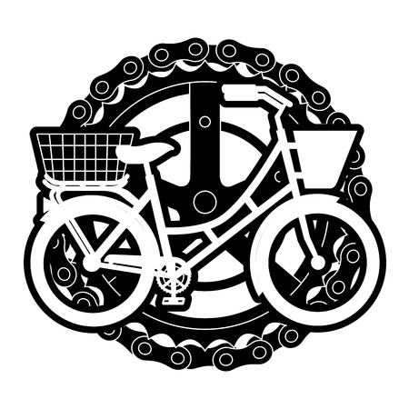 Antique bicycle with basket chain and sprocket vector illustration design