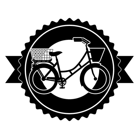 Antique bicycle with basket emblem vector illustration design 向量圖像