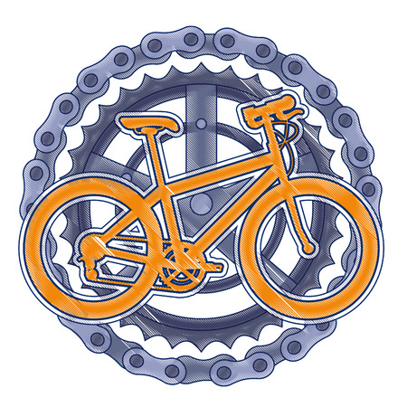 A sport bicycle with chain and sprocket vector illustration design