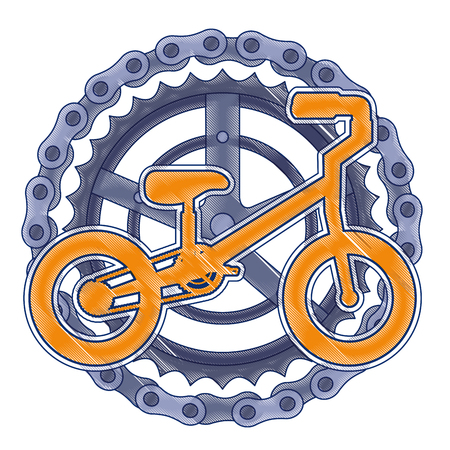 A mountain bicycle with chain and sprocket vector illustration design