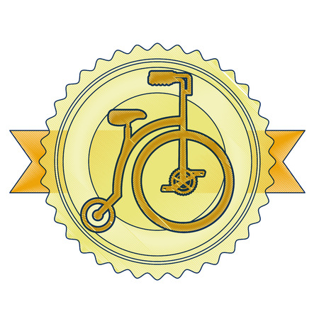 A retro bicycle emblem with ribbon vector illustration design Foto de archivo - 91934034