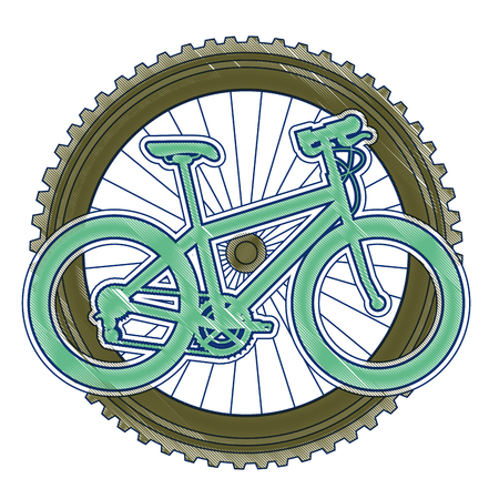 Racing bicycle with wheel vector illustration design