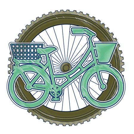 ホイール背景ベクトルイラストデザインのバスケット付きアンティーク自転車 写真素材 - 91895459
