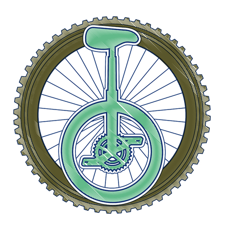 Monocycle race with wheel vector illustration design 向量圖像