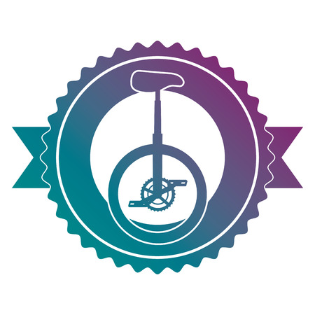A monocycle race emblem with ribbon vector illustration design