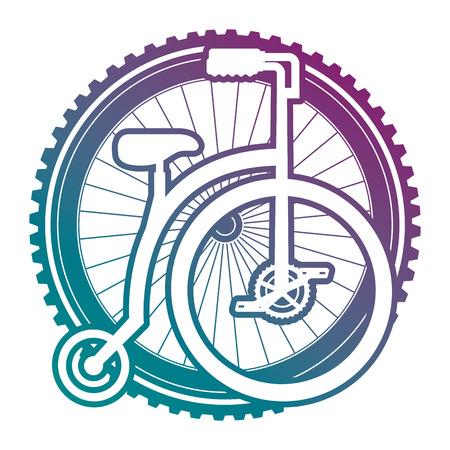 Retro bicycle with wheel vector illustration design