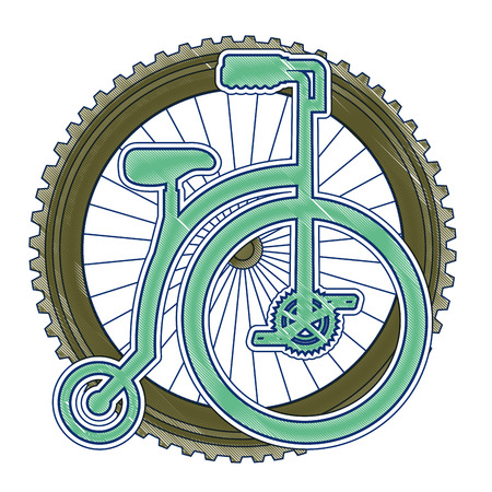 Retro bicycle with wheel vector illustration design