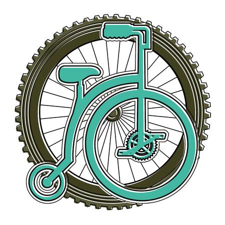 Bicicleta retrô com design ilustração vetorial de roda Foto de archivo - 91859502