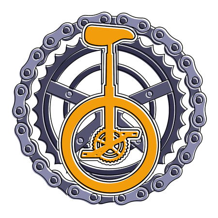 Monocycle race with chain and sprocket vector illustration design Çizim
