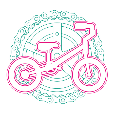 mountain bicycle with chain and sprocket vector illustration design