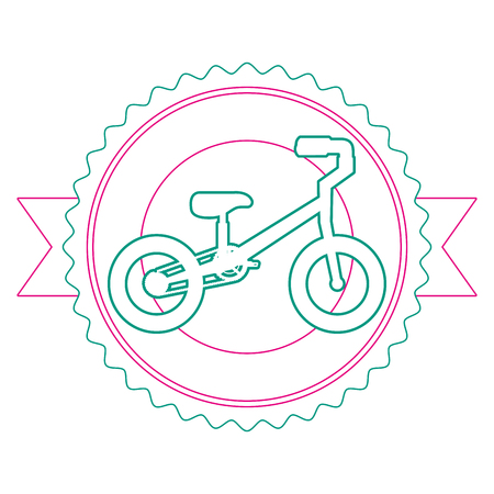 Mountain bicycle with emblem ribbon vector illustration design Illustration