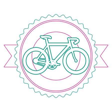 Racing bicycle emblem with ribbon vector illustration design Иллюстрация