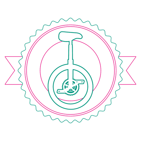 Monocycle race emblem with ribbon vector illustration design
