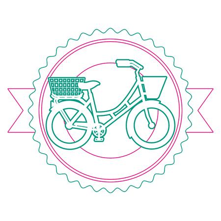 Antique bicycle with basket emblem vector illustration design Иллюстрация