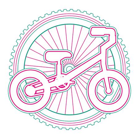 Bicicletta della montagna con progettazione dell'illustrazione di vettore della ruota Archivio Fotografico - 91860300