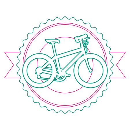 A sport bicycle emblem with ribbon vector illustration design