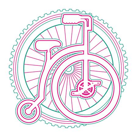 Bicicleta retra con diseño de ilustración vectorial de rueda Foto de archivo - 91860301