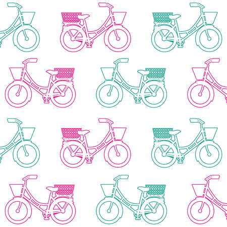 Antique bicycle with basket pattern background vector illustration design