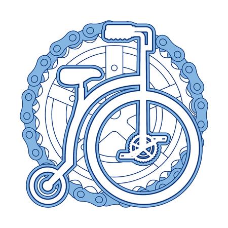 Bicicleta retrô com design de ilustração vetorial de corrente e roda dentada Foto de archivo - 91861680