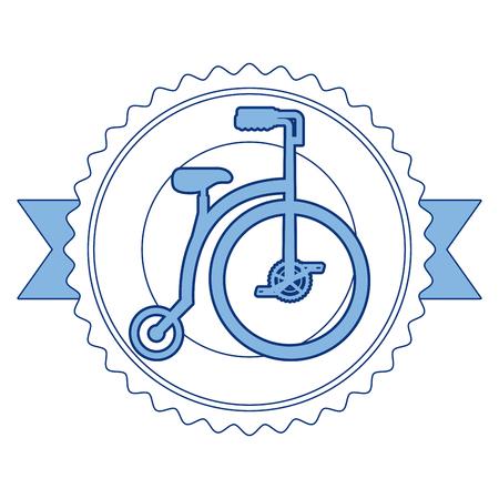 Emblema de bicicleta retro con diseño de ilustración de vector de cinta Foto de archivo - 91861888