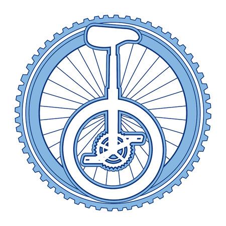 Monocycle race with wheel vector illustration design Çizim