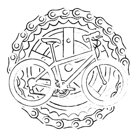 Sport bicycle with chain and sprocket vector illustration design Illustration