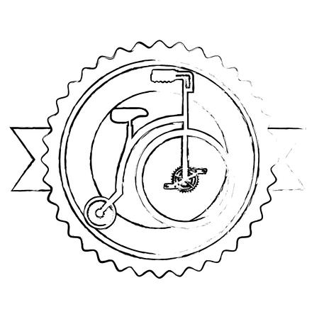 Emblema de bicicleta retro con diseño de ilustración de vector de cinta Foto de archivo - 91871601
