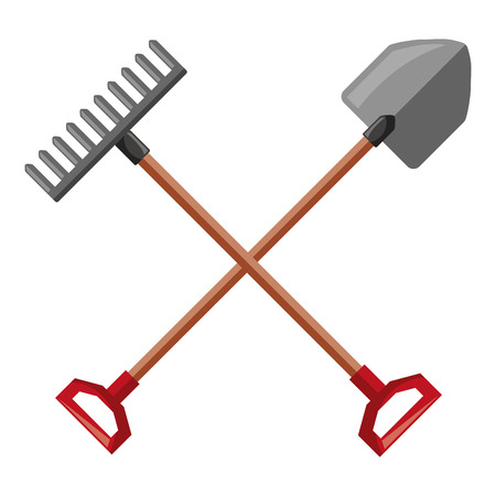 Gardening shovel with rake vector illustration design Illustration