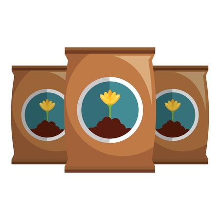 Fertilizer bags isolated icon vector illustration design