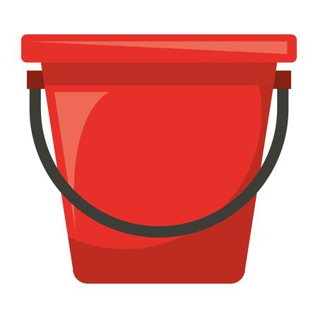 Het plastic emmer geïsoleerde ontwerp van de pictogram vectorillustratie Stock Illustratie
