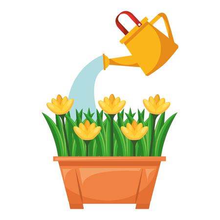 Beautiful flowers cultivated in pot vector illustration design Иллюстрация
