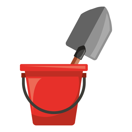 Bucket with gardening shovel vector illustration design